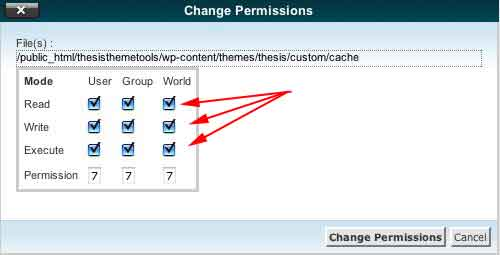 This is what the Cache folder permissions will look like