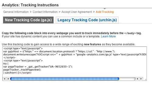 Screen 6: Copy the tracking code