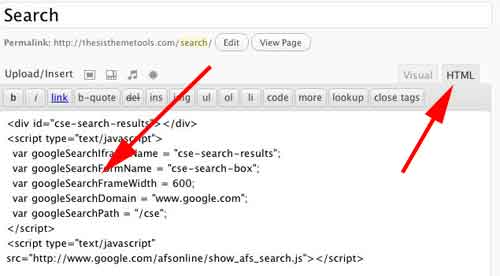 Installing the search page code into your search page