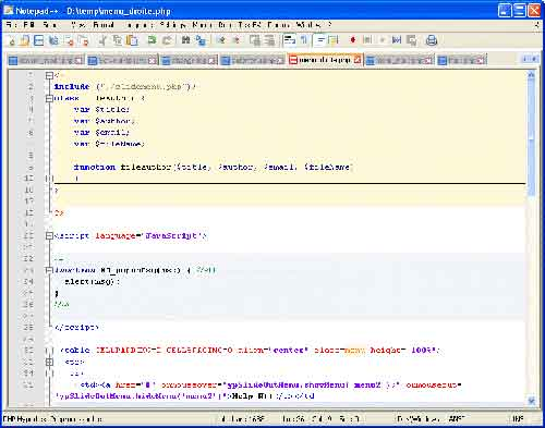 Notepad++ HTML editing example