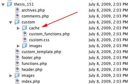 Figure 7: Location of the /cache folder within the /custom folder
