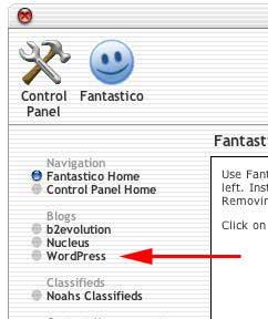 Figure 2: Locate WordPress in the left column