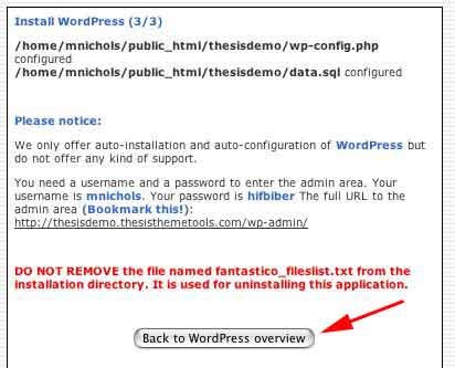 Figure 6: WordPress has been installed