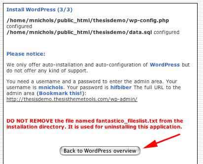 Figure 6: WordPress has been installed