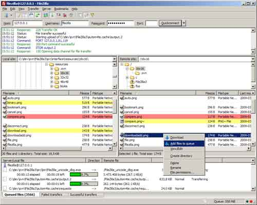 FileZilla main screen