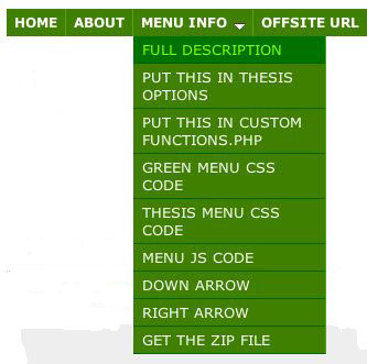 Figure 1: Dropdown menu with one level