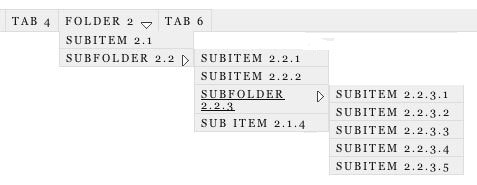 Figure 3: Dropdown menu configured to look like Thesis