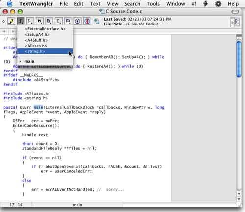TextWrangler edit screen showing syntax highlighting