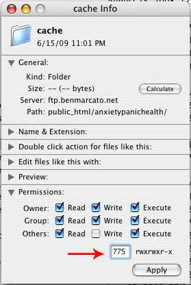 Figure 8: Changing the file permissions on the /cache folder