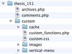 Figure 5: The vertical-menu folder created within the /custom folder