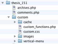 Figure 5: The vertical-menu folder created within the /custom folder