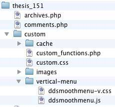Figure 6: Required files copied into the /custom/vertical-menu folder