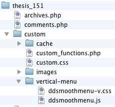 Figure 6: Required files copied into the /custom/vertical-menu folder