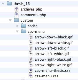 Figure 9: All files copied to the css-menu folder